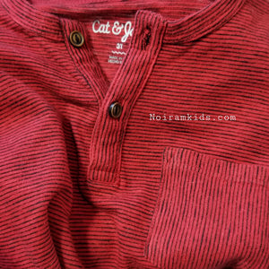 Cat Jack Boys Red Striped Henley Shirt 3T Used View 2