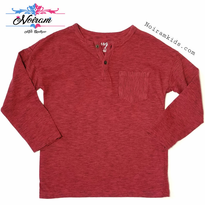 Cat Jack Boys Red Striped Henley Shirt 3T Used
