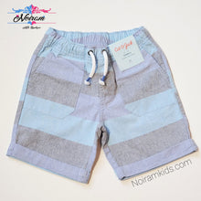 Load image into Gallery viewer, Cat Jack Boys Blue Grey Striped Shorts 4T NWT View 1