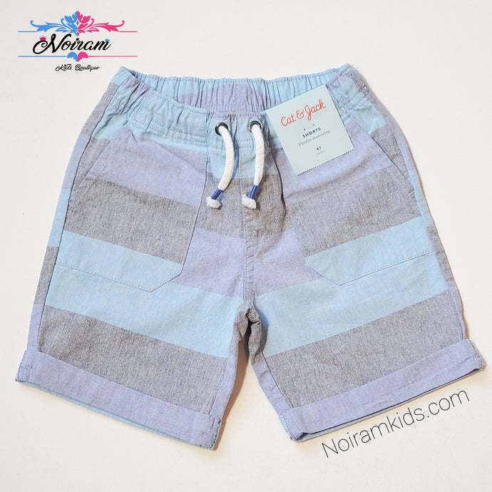 Cat Jack Boys Blue Grey Striped Shorts 4T NWT View 1