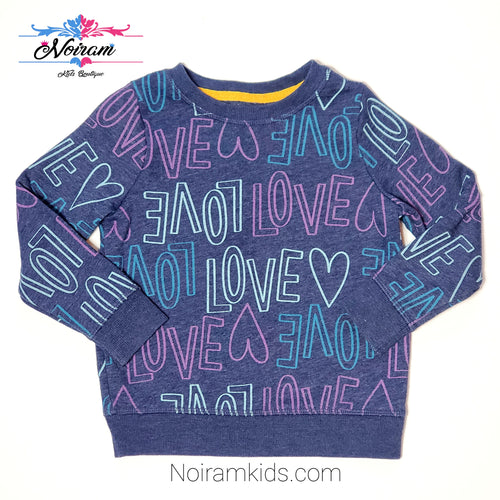 Cat Jack Blue Love Print Girls Sweatshirt 3T Used View 1