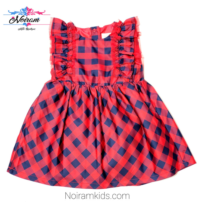 Cat Jack Red Blue Plaid Girls Dress 18M NWOT View 1