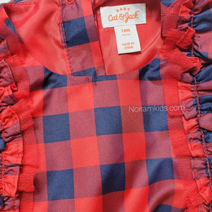 Cat Jack Red Blue Plaid Girls Dress 18M NWOT View 4