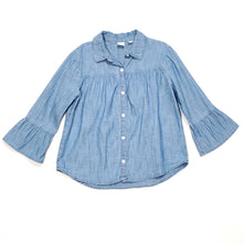 Load image into Gallery viewer, Gap Chambray Denim Bell Sleeve Girls Top Medium Used View 1