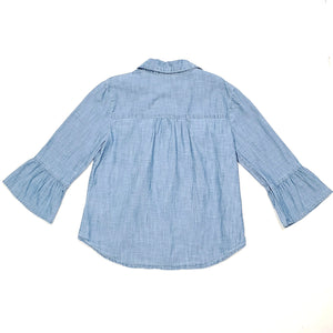 Gap Chambray Denim Bell Sleeve Girls Top Medium Used View 2