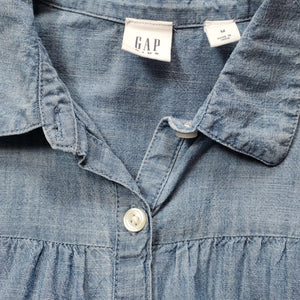 Gap Chambray Denim Bell Sleeve Girls Top Medium Used View 3