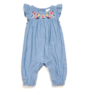 Carters Girls Chambray Floral Jumpsuit NB Used View 1