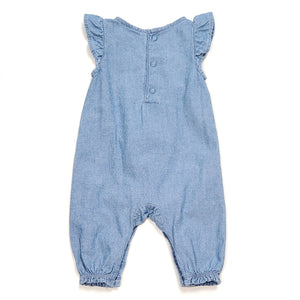 Carters Girls Chambray Floral Jumpsuit NB Used View 2