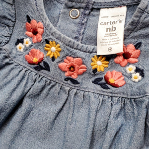 Carters Girls Chambray Floral Jumpsuit NB Used View 3