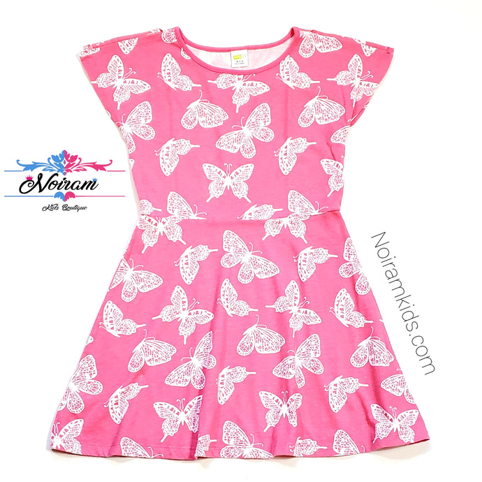 Crazy 8 Girls Pink Butterfly Dress Used