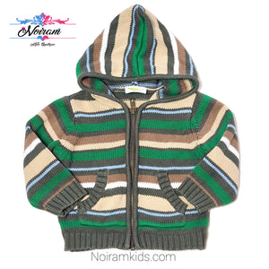 Crazy 8 Baby Boys Green Striped Hooded Sweater Used View 1