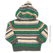 Load image into Gallery viewer, Crazy 8 Baby Boys Green Striped Hooded Sweater Used View 2