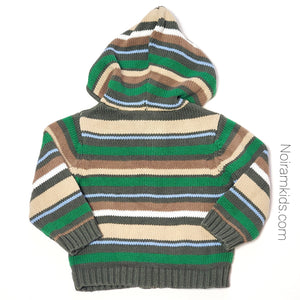 Crazy 8 Baby Boys Green Striped Hooded Sweater Used View 2