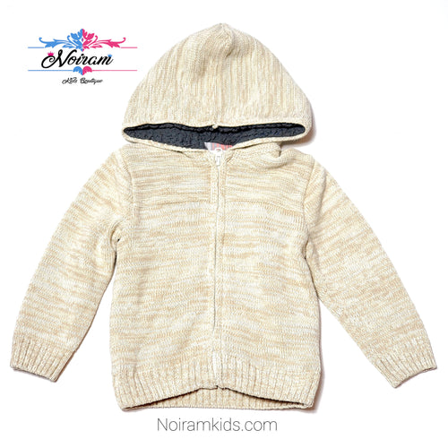 Crazy 8 Cream Zip Up Boys Sweater Jacket 3T Used View 1