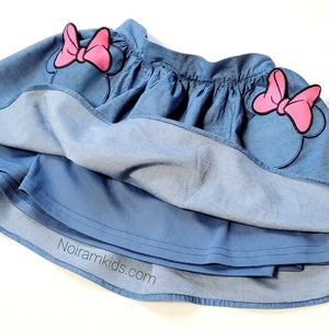 Disney Girls Minnie Mouse Chambray Denim Skirt Used View 2