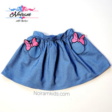 Load image into Gallery viewer, Disney Girls Minnie Mouse Chambray Denim Skirt Used View 1