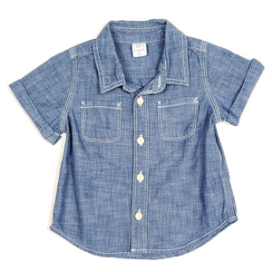 Baby Gap Boys Chambray Denim Shirt 12M Used View 1
