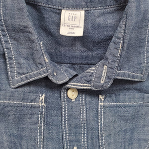 Baby Gap Boys Chambray Denim Shirt 12M Used View 3