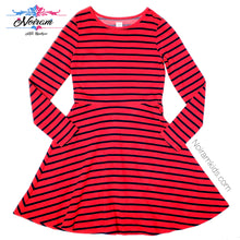 Load image into Gallery viewer, Gap Kids Red Blue Striped Girls Dress Size 12 Used View 1