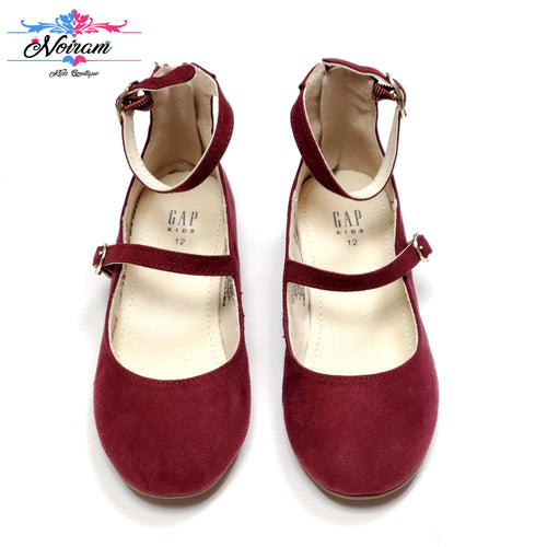 Maroon Suede Gap Mary Jane Girls Shoes Size 12 Used View 1