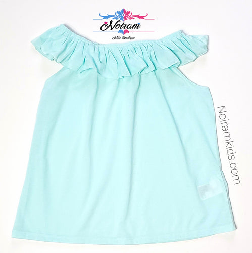 HM Girls Blue Ruffle Tank Top Used View 1