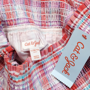 Cat Jack Girls Smocked Plaid Top Size 10 NWT View 3