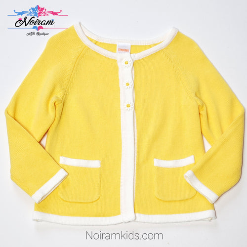 Gymboree Yellow White Girls Sweater 2T Used View 1