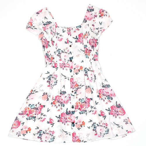 Mudd Girls White Floral Dress Size 7 Used View 1