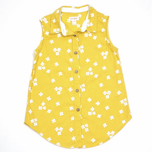 Cat Jack Girls Yellow Floral Top Size 6 Used View 1