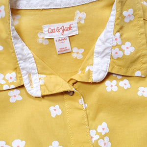 Cat Jack Girls Yellow Floral Top Size 6 Used View 3