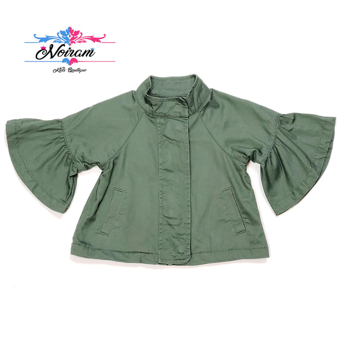 Crazy 8 Olive Green Girls Jacket 12M Used View 1