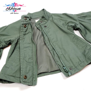 Crazy 8 Olive Green Girls Jacket 12M Used View 3
