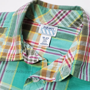 Old Navy Baby Boys Green Plaid Shirt Used View 2