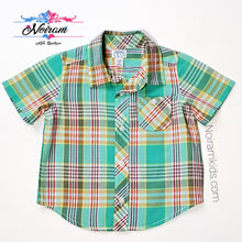 Load image into Gallery viewer, Old Navy Baby Boys Green Plaid Shirt Used