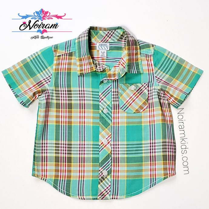 Old Navy Baby Boys Green Plaid Shirt Used