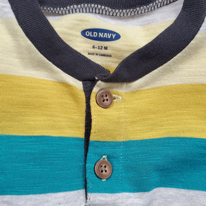 Old Navy Boys Green Yellow Striped Shirt 6M Used View 3