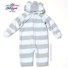 Load image into Gallery viewer, Old Navy Grey Blue Boys Fleece Snowsuit 12M Used View 1