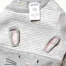 Load image into Gallery viewer, Carters Grey Bunny Girls Sweatshirt 3M Used View 3