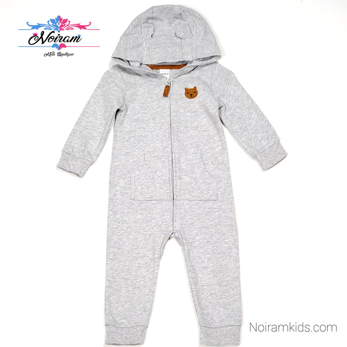 Carters Grey Hooded Boys Jumpsuit 12M Used View 1