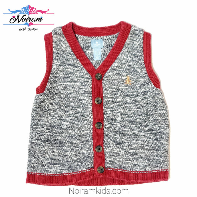 Gap Red Grey Boys Sweater Vest Used View 1