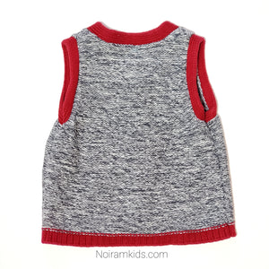 Gap Red Grey Boys Sweater Vest Used View 2