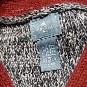 Gap Red Grey Boys Sweater Vest Used View 3