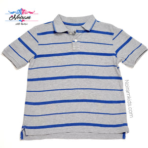 Gap Grey Striped Boys Polo Shirt Size 6 Used View 1
