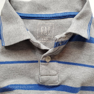 Gap Grey Striped Boys Polo Shirt Size 6 Used View 3