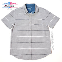 Load image into Gallery viewer, Arizona Grey Striped Boys Button Down Shirt Used View 1
