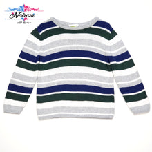 Load image into Gallery viewer, Grey Striped Crazy 8 Boys Sweater 2T Used View 1