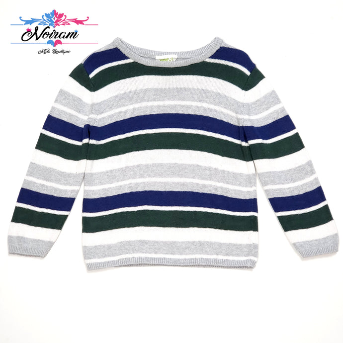 Grey Striped Crazy 8 Boys Sweater 2T Used View 1