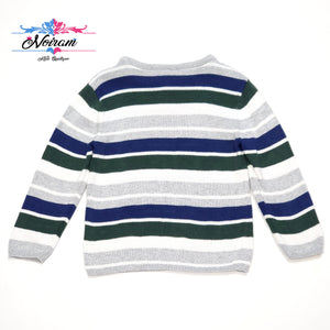 Grey Striped Crazy 8 Boys Sweater 2T Used View 2