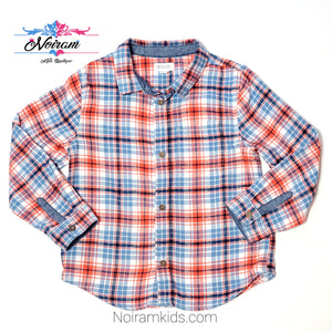 Gymboree Blue Orange Boys Flannel Shirt 3T Used View 1