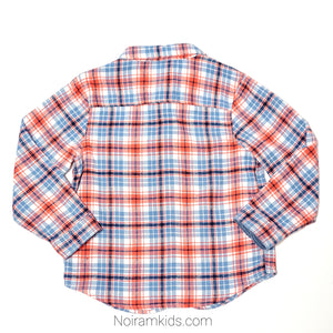 Gymboree Blue Orange Boys Flannel Shirt 3T Used View 2